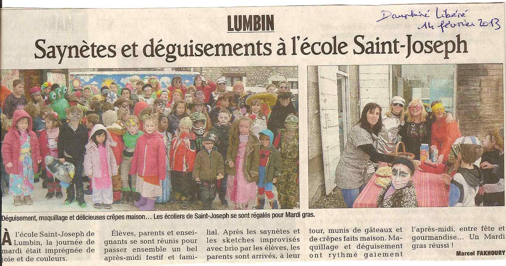 Dauphiné Libéré : article du Carnaval