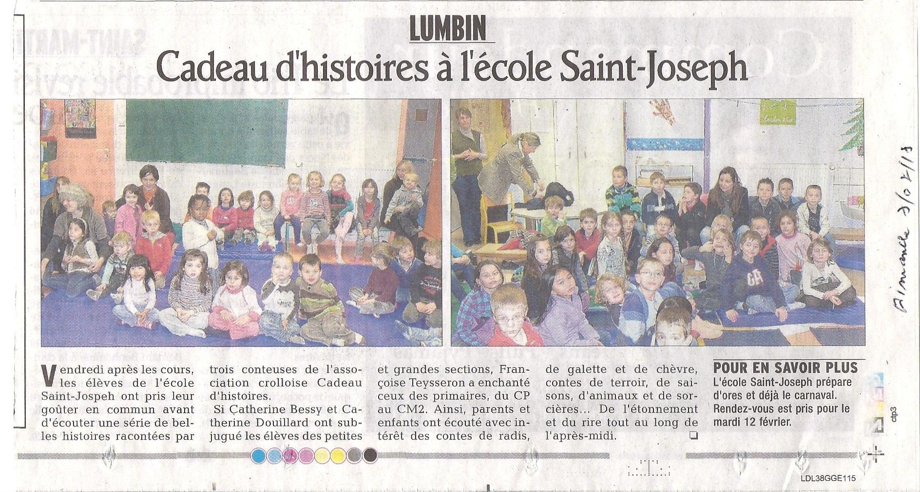 Cadeau d'histoires à l'école Saint-Joseph