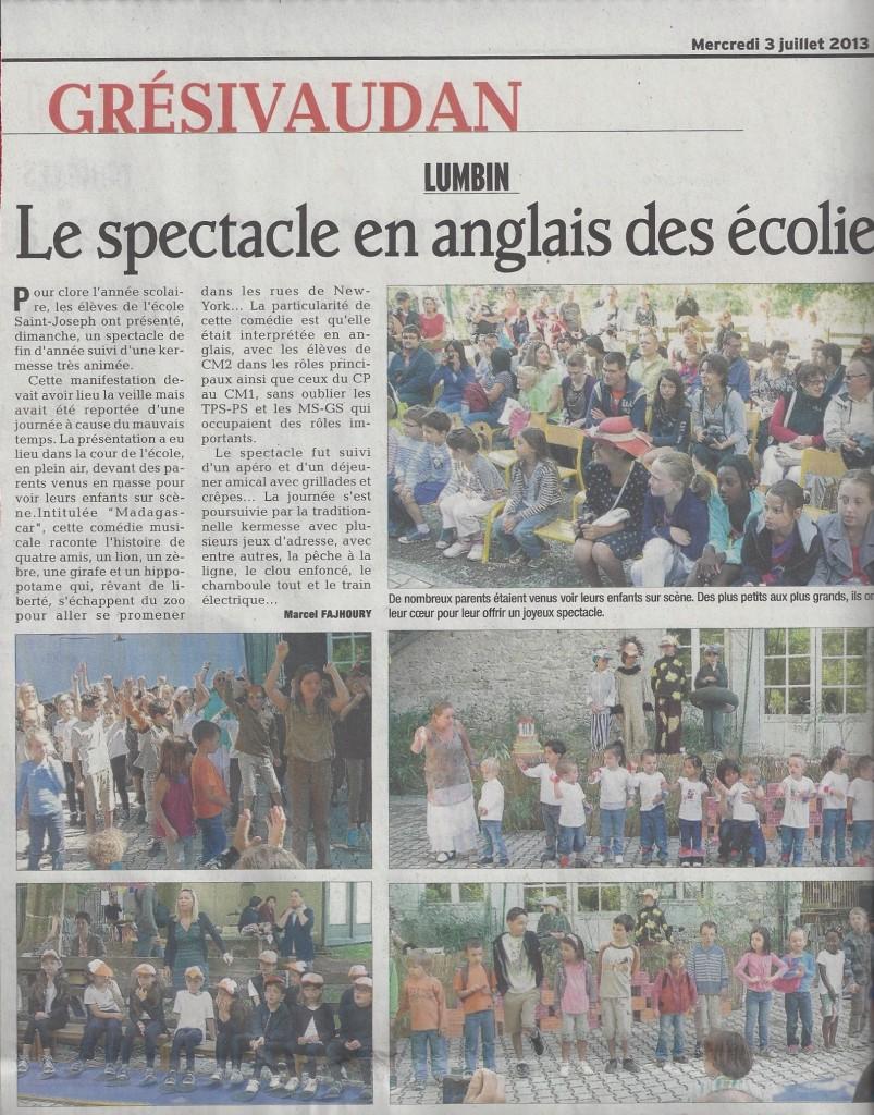 Dauphiné Libéré - Article kermesse 2013